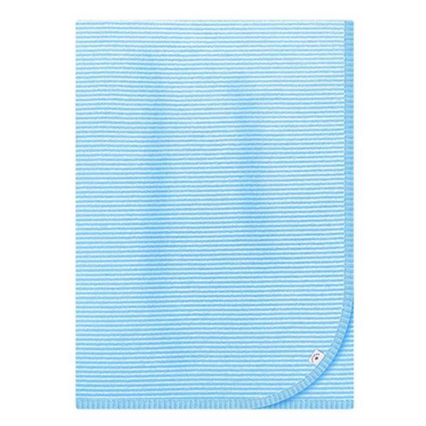 Strickdecke weiss/hellblau gestreift (bellybutton)
