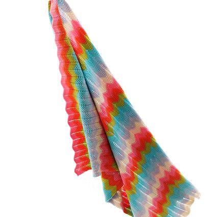 Regenbogenfarbige Chevron-Strick-Decke (Bizzi Growin)
