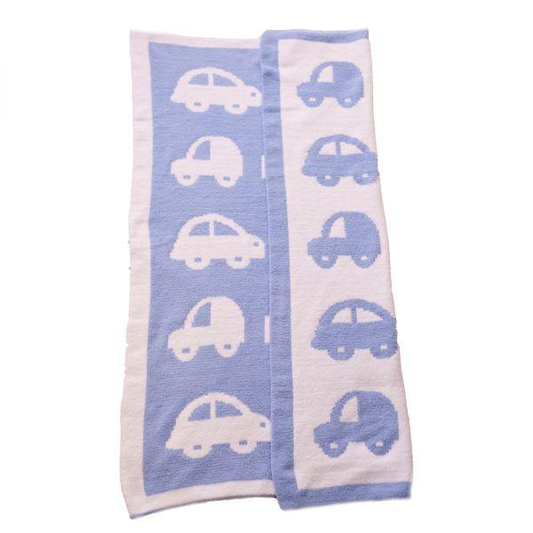 Blaue Autos Chenille Strick-Decke (Bizzi Growin)